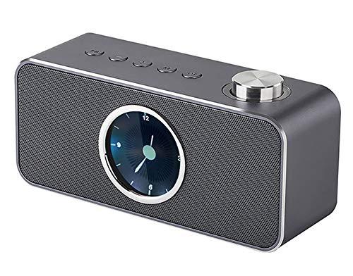 L&F Bluetooth-Lautsprecher, tragbarer kabelloser Speaker mit FM-Radio- und Uhrendesign, gebaut - 3600-mAh-Akku Stereo-Freisprecheinrichtung, unterstützt Bluetooth, AUX-Ausgang und TF-Kartensteckplatz