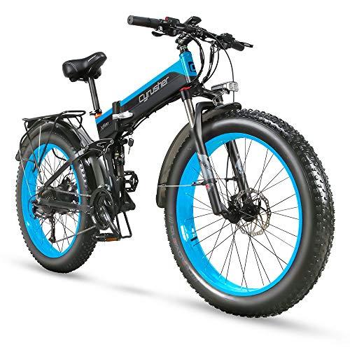 Extrbici Pliant électrique Cruiser Bike XF690 1000W 48V 12.8AH Batterie cachée Fat Bike Mountain Beach Bicyclette Suspension Totale 27 Vitesses 26 * 4.0 Frein à Disque hydraulique pour Gros Pneu