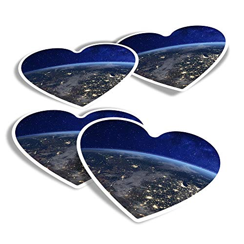 Vinyl Heart Stickers (Set of 4) - USA East Coast America Earth Fun Decals for Laptops,Tablets,Luggage,Scrap Booking,Fridges #2242