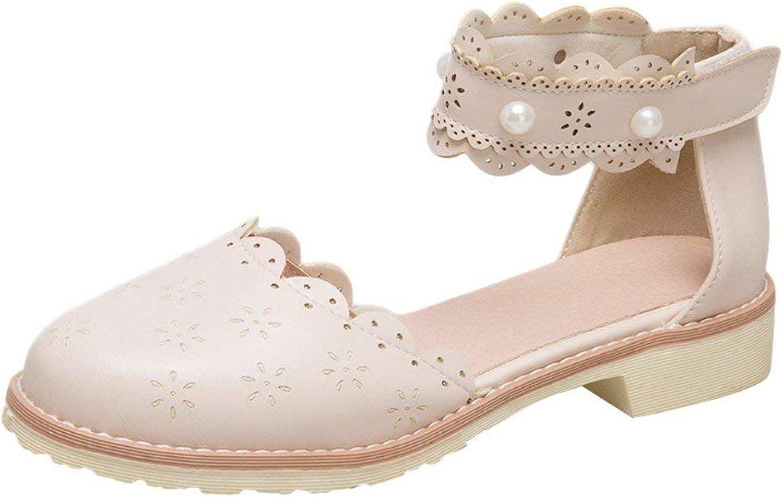 Wallhewb Women's Sweet Low Heel Ankle Strap D'Orsay shoes Elegant Cute Skinny Joker Closed Toe Rubber Sole Dress Sweet No Grinding Feet Girls White 8 M US Strap shoes