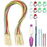 Juego de agujas circulares de bambú, agujas de tejer circulares de madera, con manguera, juego de agujas de tejer de bambú con marcadores de punto, cinta métrica, tijeras y agujas de coser de plástico
