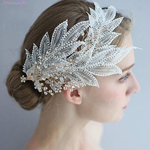 Jonnafe Haarschmuck, handgefertigt, Spitze, Blätter, Brautschmuck, Haarschmuck, Accessoire für Damen