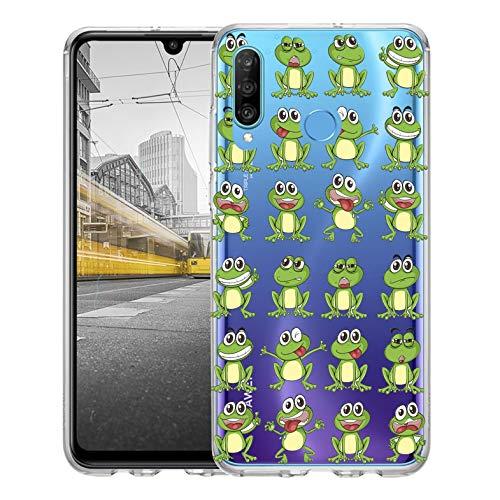 KX-Mobile Hülle für Huawei P30 Lite Handyhülle Motiv 2024 Frosch Frösche Premium Silikonhülle durchsichtig mit Bild SchutzHülle Softcase HandyCover Handyhülle für Huawei P30 Lite Hülle