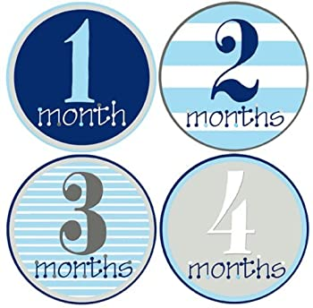 Mumsy Goose Baby Boy Monthly Stickers  1-12 Months  Capture Growth Milestones for Memory Book Journal Keepsakes or Photo Albums