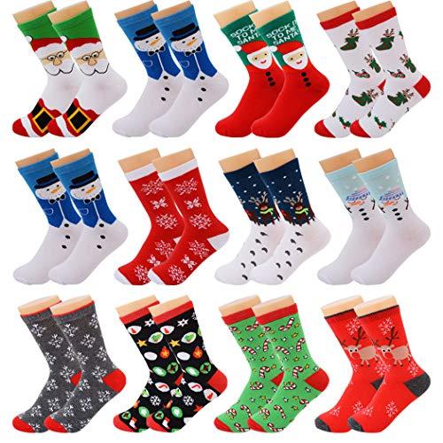 Fascigirl 12 pares Calcetines de Navidad Calcetines de