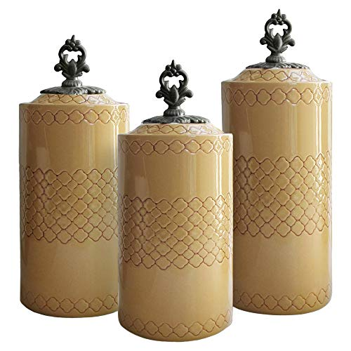 American Atelier 3 Piece Canister Set, Heights: 10.4, 11.3 and 12.4 inches, Diameter: 4.5 inches, Cream