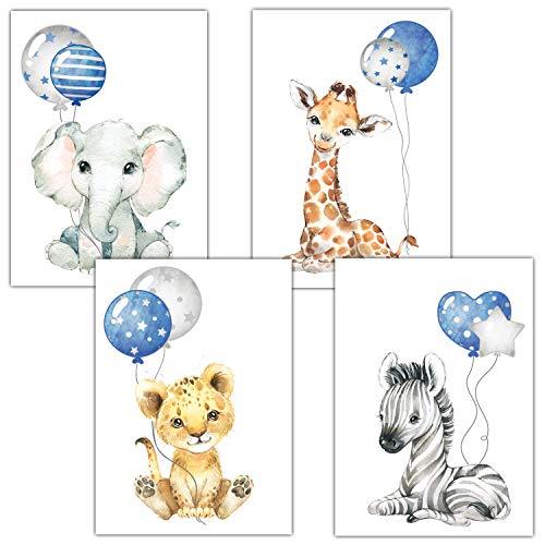 Frechdax® Poster Kinderzimmer Deko Grau Bilder Babyzimmer Safari Dschungel Tierposter Luftballon (blau für Jungen)