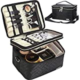 FINDCOZY Double Layer Makeup Bag with Strap, Large Cosmetic Case for Women, Make Up Organizer for Brushes, Beauty, Eyeshadow Palette, Lipstick, Black