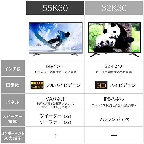 『ハイセンス Hisense 55V型 液晶 テレビ 55K30 フルハイビジョン 外付けHDD裏番組録画対応 メーカー3年保証 2018年モデル』の2枚目の画像