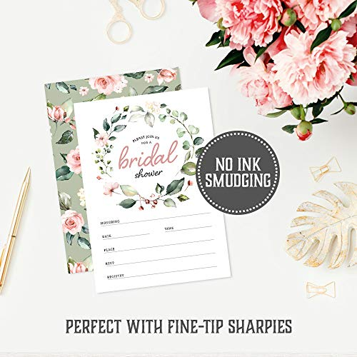 Bridal Shower Invitations with Envelopes by Hat Acrobat | Set of 25 Floral Fill in Style Invites and 25 Envelopes, Perfect for The Bridal Party, Wedding Shower
