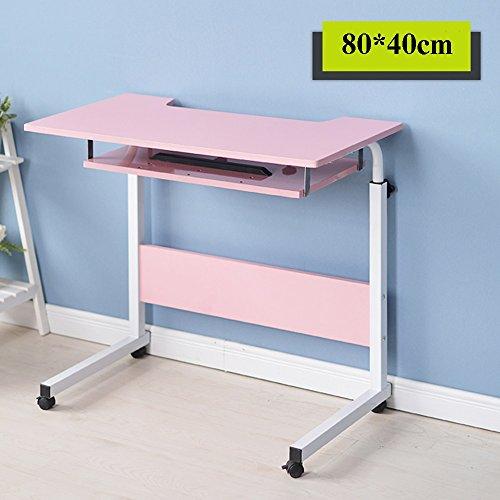XIA Embedded Bureau d'ordinateur MDF table d'étude érable blanc couleur mat bureau noir noyer peinture bureau rose blanc pratique et pratique 80 * 40cm hauteur réglable (Couleur : Pink)