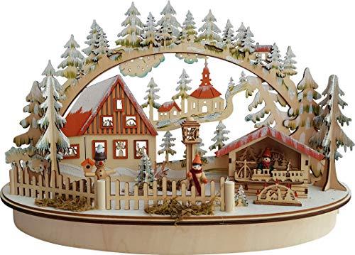 yanka-style Arco luminoso LED Leuchter casa e mercato stand in legno ovale ca. 45cm larghezza decorazione natalizia (94311)