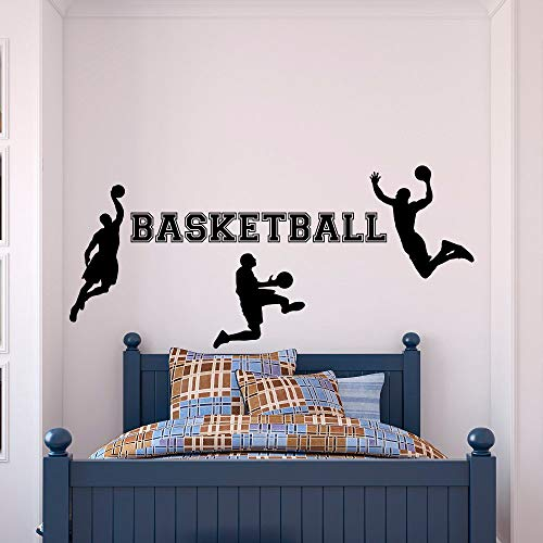 Basketball Wall Decal Sports Vinyl Sticker Basketball Player For Boys Bedroom Kids Room Wallpaper 3D Poster 42 x 93 cm