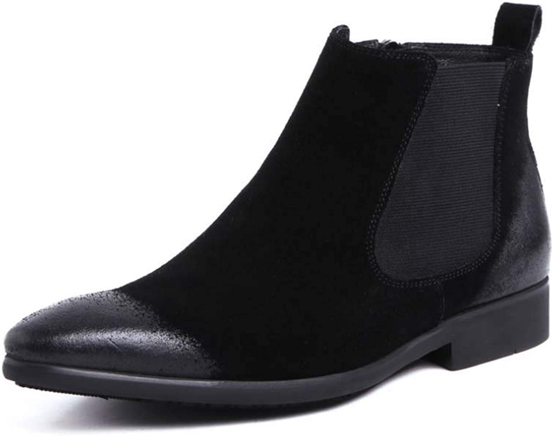 HYLFS Mans Mans Mans Chelsea stövlar mocka svart stövlar herrar Cold Lined -herrar läder skor, svart, 42EU  den nyaste