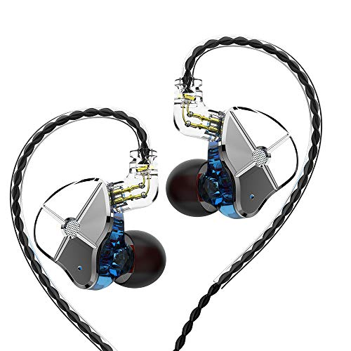TRN ST1 in Ears Monitor 1BA 1DD Hybrid Dual Driver, Senlee in Ear Headphone Earbuds with 1 Dynamic and 1 Balanced Armature Driver TRN Headsets(No Mic, Blue)