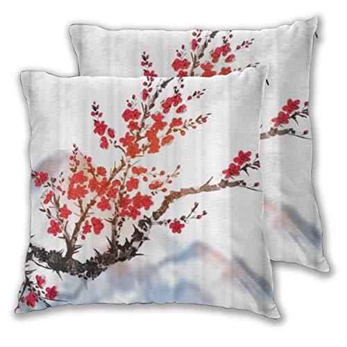 DECISAIYA Fundas de Cojines,Oriental Sakura Cerezo en Flor Que Cubre el patrón de Pintura de montaña,Poliéste Funda de Almohada Cuadrado para Sofá Cama Decoración para Hogar,Set de 2 65x65cm
