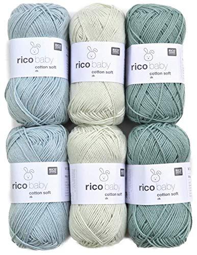 Woll-Set Rico Baby Cotton Soft dk 6x50g #49, Babywolle zum Stricken und Häkeln