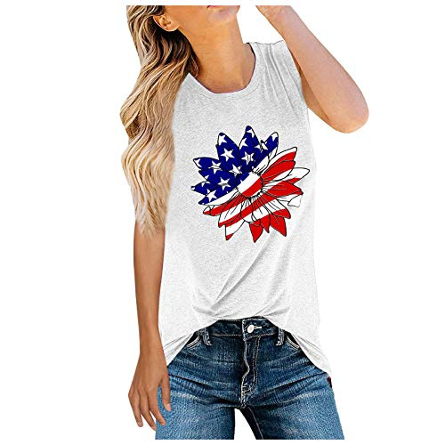 Laibory Women's Independence Day Printed Casual Summer Sleeveless O-Neck T-Shirts Fashion Gym Fitness Vest Tank Tops Blouse White