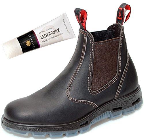 USBOK Safety Boots mit Stahlkappe aus Australien Unisex - Claret Brown + Lederwax von Solitaire | UK 5.5 / EU 38.5