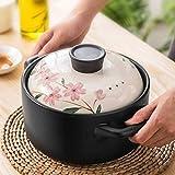 ZZFF Japonés Sakura Donabe Cerámica Hot Pot Cacerola,Calor-Resistente Clay Pot con Tapa,Doble Mango Earthen Pot Sano Olla De Sopa para El Estofado-Sakura 2.2l