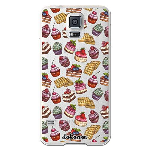 dakanna Custodia Compatibili con [Samsung Galaxy S5 - S5 Neo] Sfondo Trasparente con Disegni [Modello di Dolci e Dolci] in Morbida Silicone TPU Flessibile, Shell Case Cover in Gel per Smartphone