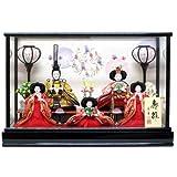 京寿 雛人形 五人飾り ケース入り 間口58×奥行39×高さ43cm 五人ケース飾り YN0502HC 黒塗ケース ひな人形