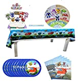 Party Decoration Super Wings Cake Toppers Table Cover 10 Paper Plates 20 Napkins 24 Cupcake Toppers Party Favors