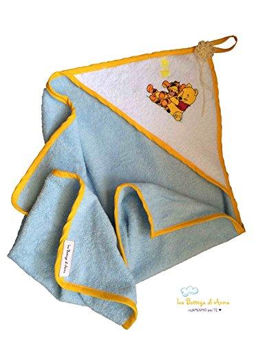 Albornoz bebé con capucha, de rizo de algodón, con bordado winnie the pooh