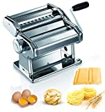Pasta Machine, 150 Roller Manual Pasta Makers with 7 Adjustable Thickness Setting, 2 in 1 Dough...