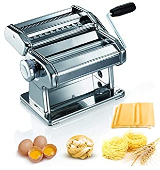 Pasta Maker Machine - 150 Roller Pasta Maker - 2 in 1 Roller with Pasta Cutter - 7 Adjustable Thickness Settings - Includes Cutter Hand Crank and Instructions Stainless Steel