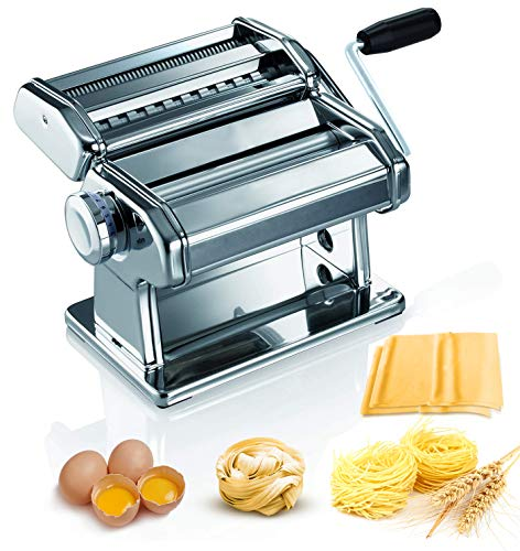 Pasta Maker - 150 Roller Pasta Machine - 2 in 1 Roller with Pasta Cutter - 7 Adjustable Thickness Settings - Includes Cutter, Hand Crank, and Instructions, Stainless Steel