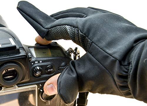 PROtastic Fotógrafos Guantes de dedo (par) – Operar su cámara en lugares extremos fríos – ¡Pop out finger & thumb!, 1147