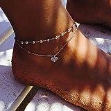 simsly spiaggia cuore cavigliera braccialetto alla caviglia doppio strass gioielli piede per donne e ragazze (argento/1pc)