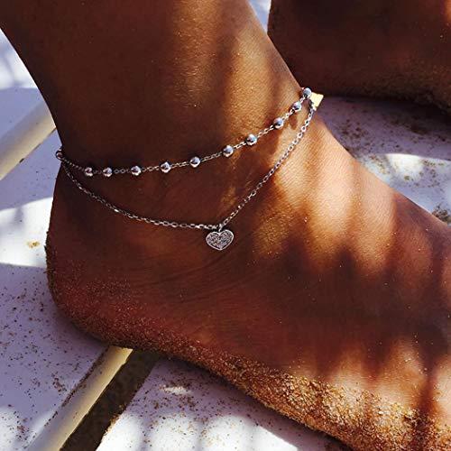 cavigliera donna doppia simsly spiaggia cuore cavigliera braccialetto alla caviglia doppio strass gioielli piede per donne e ragazze (argento/1pc)