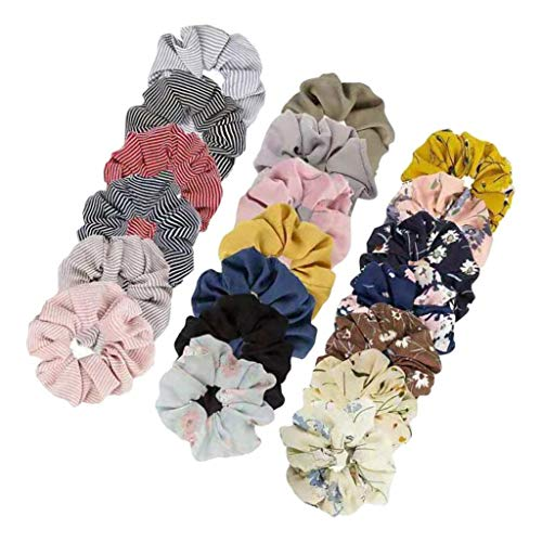 harayaa 20x Mujeres Floral Sólido Hair Scrunchies Banda para El Cabello Lazos Elásticos para El Cabello Cuerdas