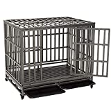 KELIXU 46' Heavy Duty Dog Crate Ultra-High Hardness Enhanced Steel Pet Kennel Playpen with Two Prevent Escape Lock, Large Dogs Cage with Four Wheels,Black …