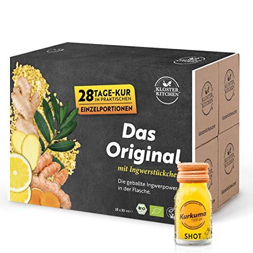 Kloster Kitchen CurcumaTRINK Shot - Boisson au curcuma et gingembre 28 x 30 ml flacons en verre, avec des vrais morceaux de gingembre, bio et végétalien