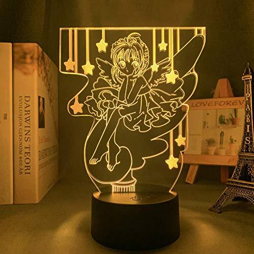 Anime Light 3D LED Cardcaptor Sakura para dormitorio decoración de noche infantil Brithday Gift Manga Room Table 3D lámpara Cardcaptor Sakura Touch Control