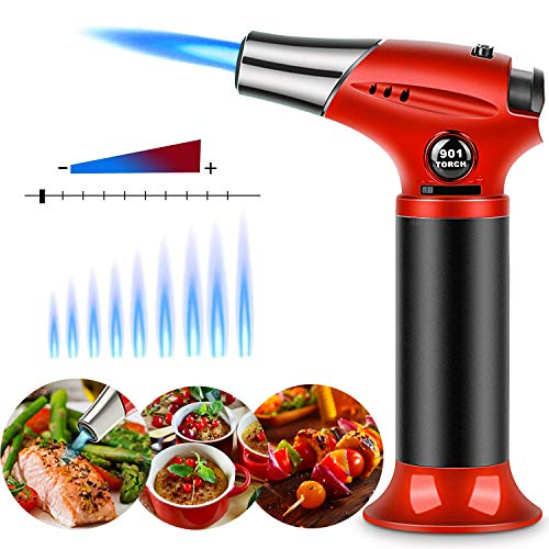 Kitchen Cooking Blow Torch,Culinary Butane Torch Lighter with Safety Lock Adjustable Flame Refillable Blowtorch for Creme/Brulee/Baking/BBQ/DIY Soldering By Sunrich (Butane Gas Not Included)