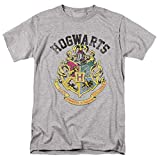 Popfunk Harry Potter Retro Hogwarts Logo T Shirt & Stickers (Large) Heather Gray