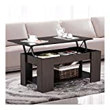 Espresso Modern Wood Lift Top Coffee/End Table with Storage Space Living Room Furniture
