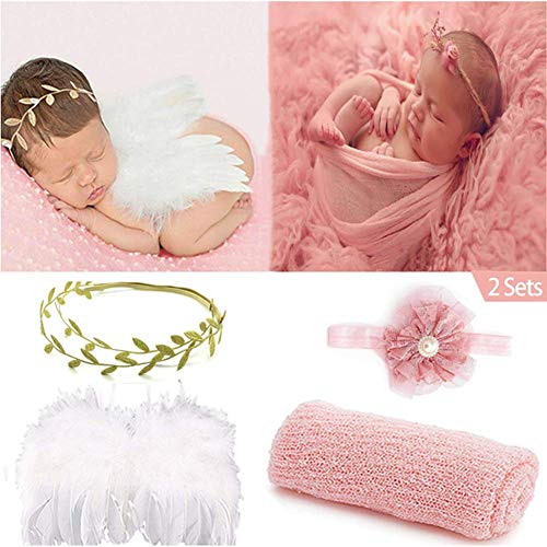SPOKKI 2 Sets Newborn Photography Props Baby Outfits Photo Long Ripple Wrap Blanket and Angel Wings with Flower Pearl Leaf Headbands Classic Outfits (0-12 Month) (Shell Pink)