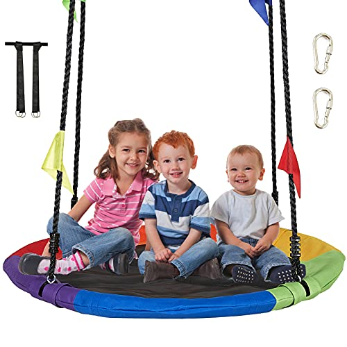 AMGYM 40' Saucer Tree Swing Kids Outdoor Platform Swing Set with Hanging Strap Kit, Adjustable Ropes and Waterproof...