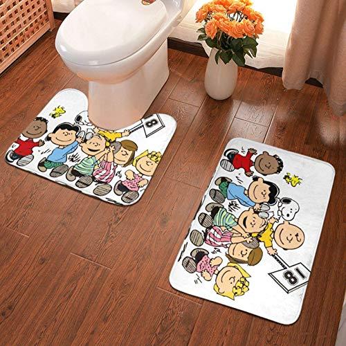 xuexiao Cartoons - Juego de 2 alfombrillas antideslizantes para baño, alfombrillas de contorno en forma de U, almohadilla de absorción de agua, baño