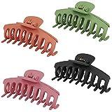 Xingsky 4 Pezzi Clip Capelli, Mollette per Capelli,Antiscivolo Large Hair Claw, 4 Colori Pinze Capelli Donna per Capelli Tornante Forcine