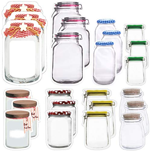 24PCS Mason Jar Zipper Bags Reusable Mason Jar Bottles Bags Stand-up Food Storage Snack Sandwich Ziplock Bags Nuts Candy Cookies Bag for Kitchen, 8 Styles