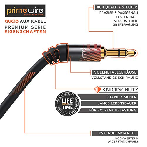 CSL - 1,5m Audio Klinkenkabel Verbindungskabel für AUX Eingänge - Voll-Metallstecker passgenau - 3.5mm Stecker auf 3.5mm Stecker - HQ Premium Series