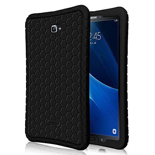 Fintie Silicone Case for Samsung Galaxy Tab A 10.1 (2016 NO S Pen Version), Honey Comb Series Light Weight Shock Proof Cover Anti Slip Kids Friendly for Tab A 10.1 Inch (SM-T580/T585/T587),Black