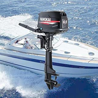Hangkai Outboard Motor,6.5HP 4 Stroke 123CC Outboard Motor Fishing Boat Engine Fishing Boat Motor Water Cooling System Durable Cast Aluminum Construction for Superior Corrosion Protection 2 YEAR WARRE