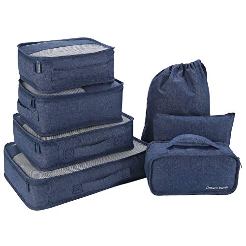 Slimfone1 Packwürfel 7-Teiliges Kleidertaschen Set, Slimfone Packing Cubes   Packtaschen Kofferorganizer für Koffer Taschen Organise Blue